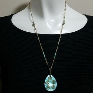 Jewelry - Blue & Gold Asian Inspired Necklace